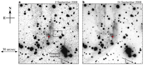 Figure1: (a) Optical R-band images of the Tycho's supernova light echo taken by Calar Alto 3.5m telescope (black means bright). The rectangle shown in a indicates the location of a previous light-echo detection in 2006. The vector towards Tycho's supernova remnant is indicated (arrow). (b) R-band images taken by FOCAS on Subaru Telescope. The optical spectrum was obtained at the position of the brightness peak marked for reference (red cross).