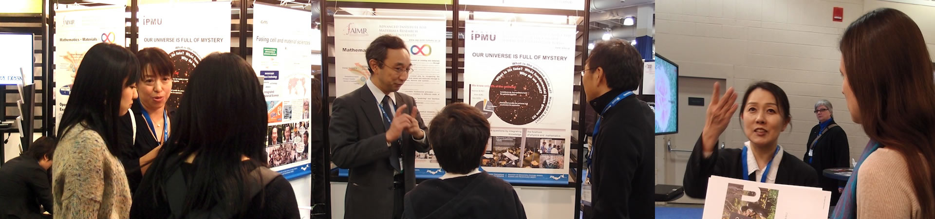 Kavli IPMU staff communicating with the guests