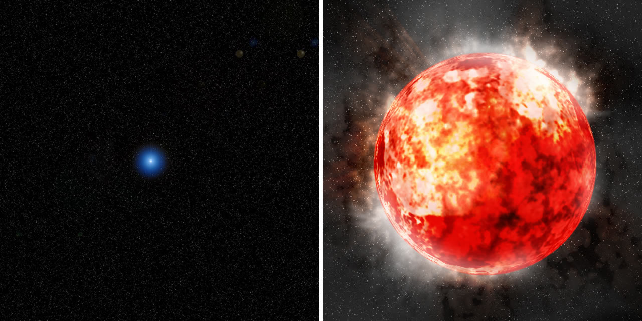 Figure 5: Artist's conception of   (left:) a single blue star and (right:) a red supergiant star.  A single blue star is considered to become a red supergiant before  a supernova explosion. Credit: Kavli IPMU/Aya  Tsuboi