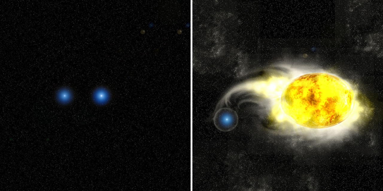 Figure 4: Artist's conception of  binary systems of (left:) two blue stars and (right:) a blue star and a yellow supergiant  star. Credit: Kavli IPMU/Aya Tsuboi