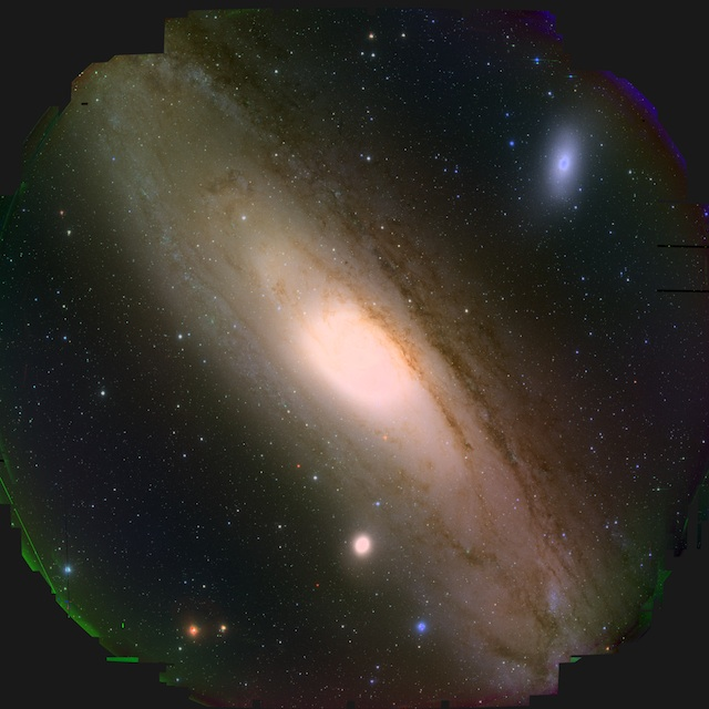 Figure 1: The full view of M31 taken by HSC. The HSC mounted on the Subaru Telescope can observe an extremely wide field of view, equal to 9 times the area of the full moon. In some parts at the edge region appear to be strange color since the boundary area of the image circle is hard to process and observed area is not perfectly coinciding between the 3 bands. (Credit: HSC Collaboration / Kavli IPMU)