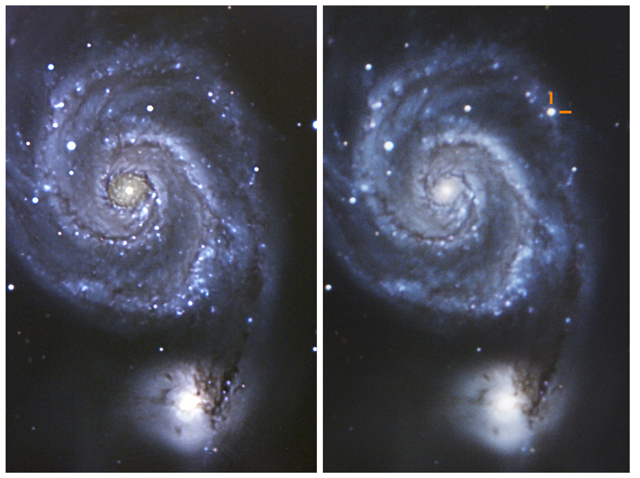 Figure 1: M51 Galaxy before (left) and after (right) the eruption of SN 2011dh. The image on the left was taken in 2009, and on the right on July 8th, 2011. Credit: Conrad Jung.