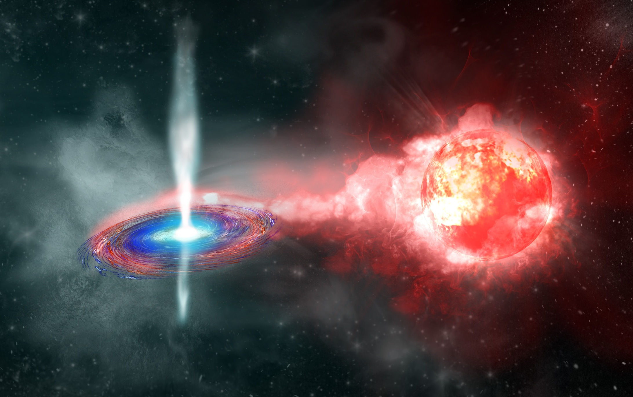 Artist's conception of TypeIa  Supernova progrnitor(Credit: Kavli  IPMU)