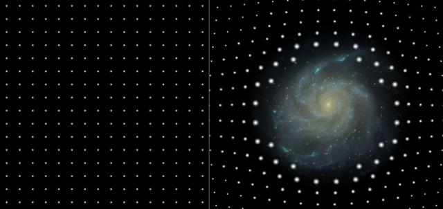 Figure 1: The two images illustrate the effect of gravitational lensing. A massive galaxy at the center of the right panel causes the images of the background galaxies (white spots) to be enlarged and brightened.(Image credit: Joerg Colberg, Ryan Scranton, Robert Lupton, SDSS, http://www.sdss.org/news/releases/20050426.magnification.html)