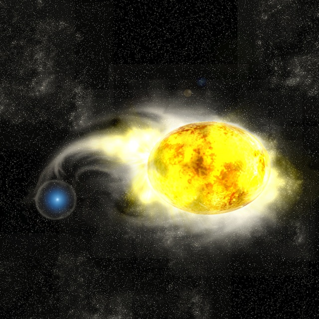 Figure 2: Artist's conception of the progenitor system of SN 2011dh. The system consists of a blue star and a yellow supergiant. Credit:  Kavli IPMU/Aya  Tsuboi