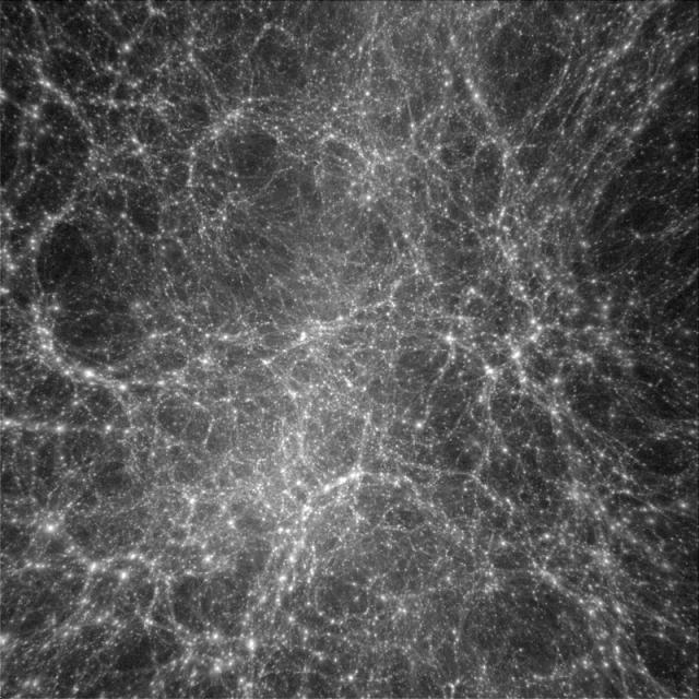Figure 3: A computer simulation shows dark matter is distributed in a clumpy but organized manner. In the figure, high density regions appear bright whereas dark regions are nearly, but not completely, empty.