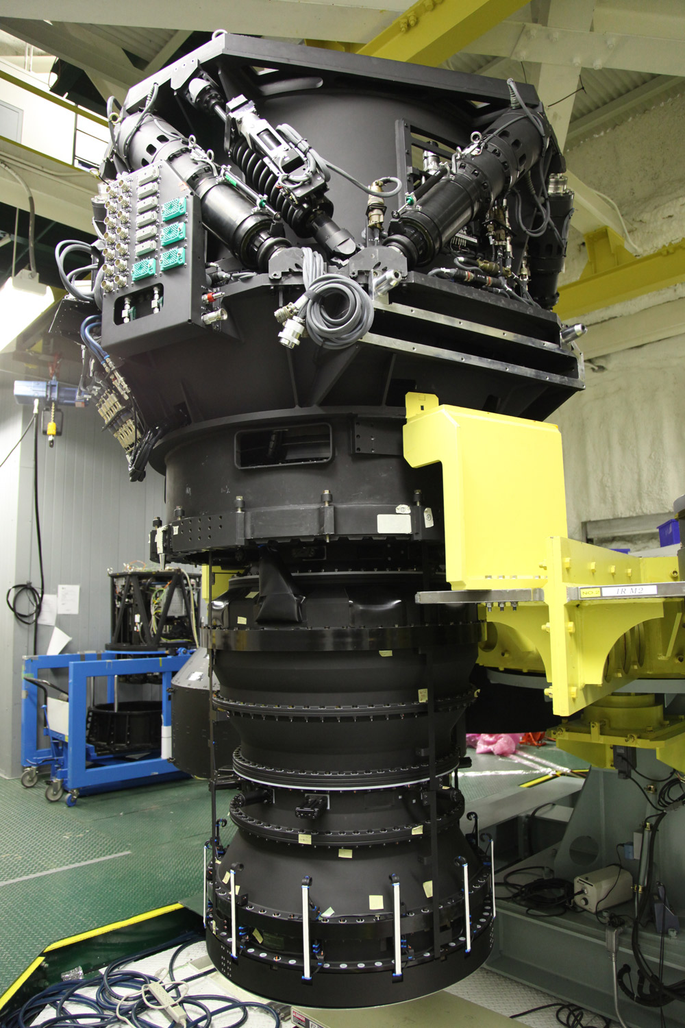 Figure 1: Hyper Suprime-Cam. The  instrument weighs 3 tons and is 3 m (9 ft.) high. (Credit:  NAOJ)