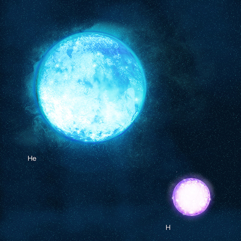 An artist's conception of a binary progenitor system of the supernova iPTF13bvn. Larger diameter but smaller mass (4 times mass of the Sun) helium star shown on the left is to explode. The companion star shown on the right is a hydrogen rich star and 30 times mass of the Sun.tim