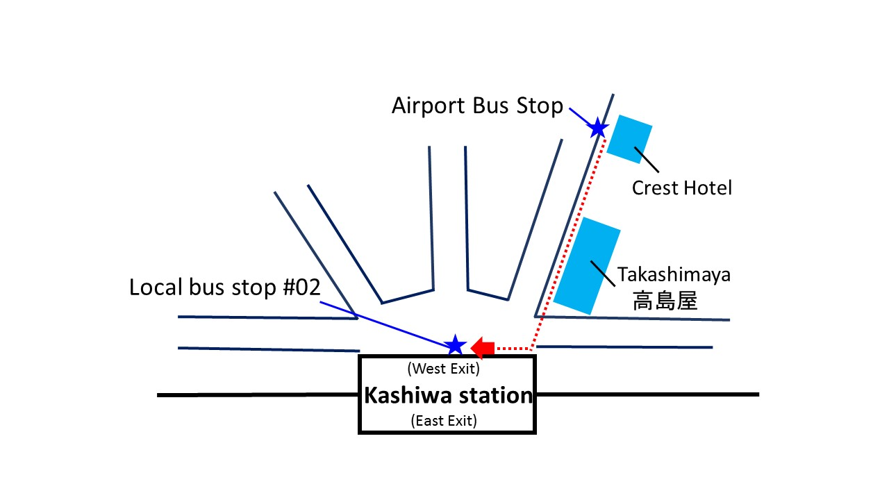 Kashiwa Map: Airport Bus Stop - Local Bus Stop