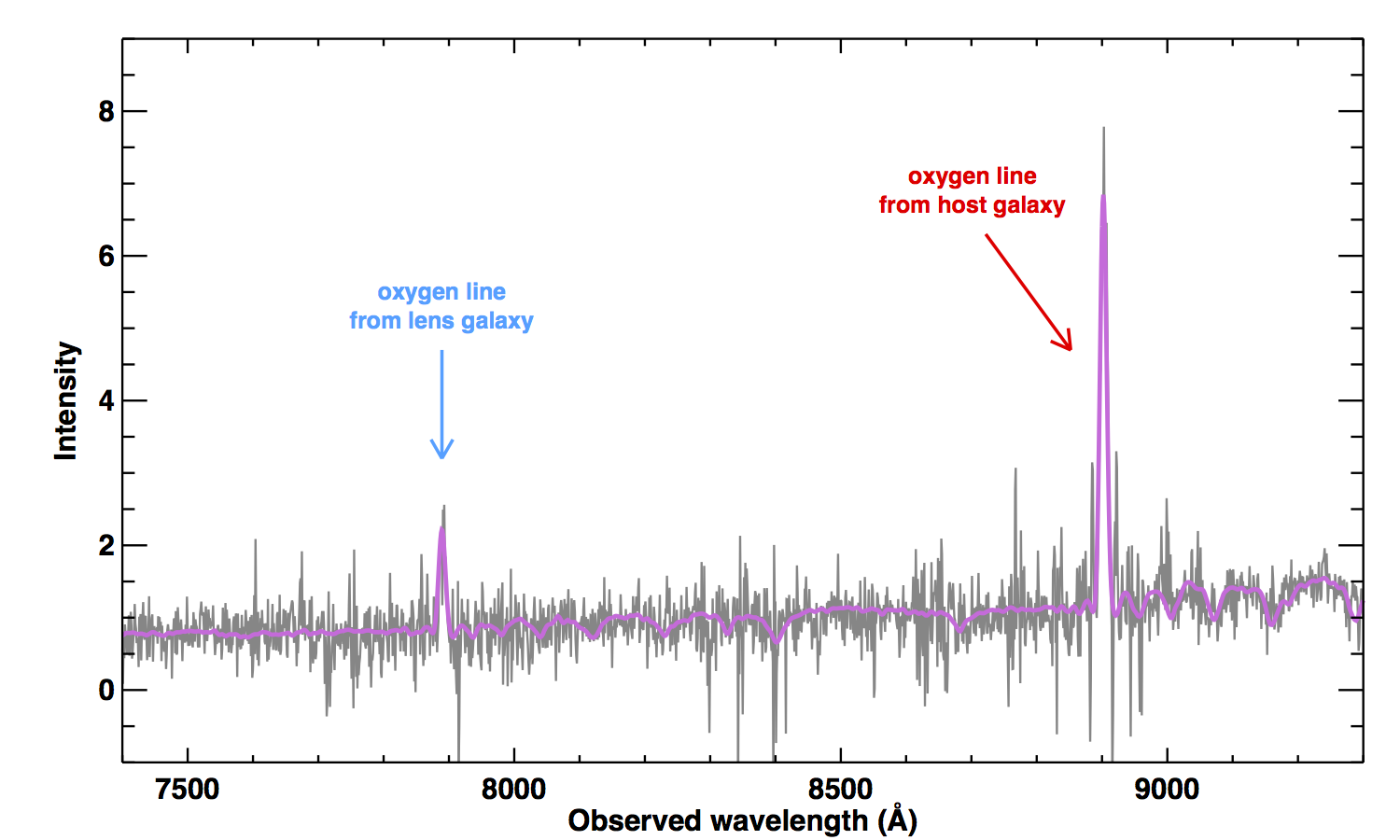 The observed spectra using the Low-Resolution Imaging Spectrograph on the 10 meter Keck-I telescope. (Credit: Kavli IPMU)