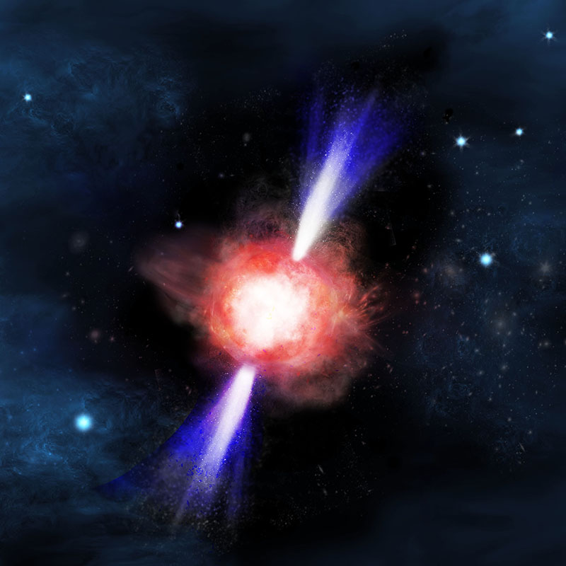 Figure  3:             Artist's conception of a supernova of a first star  with jets. (credit:Kavli IPMU)