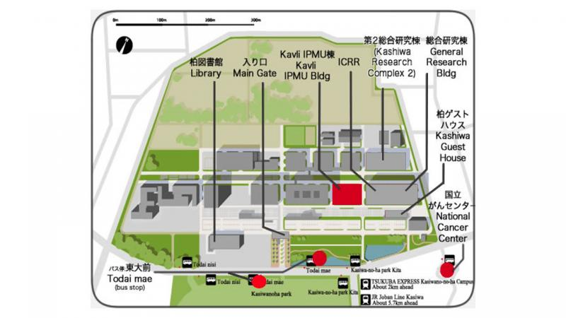 Kashiwa campus map: Map of Kashiwa campus for IPMU