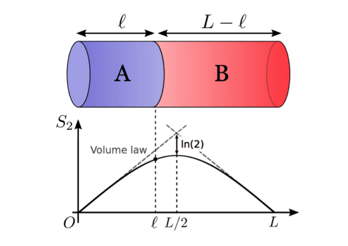 Graph showing quantum entanglement and spatial distribution.