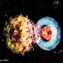 周囲のガスとの激しい衝突が生み出す超高輝度超新星の輝き